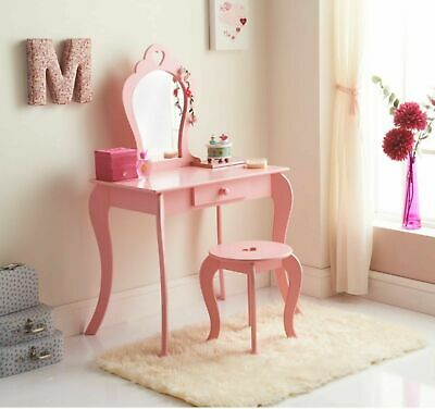 New Children Wooden Pink Amelia Vanity Set/ Dressing Table With Mirror & Stool