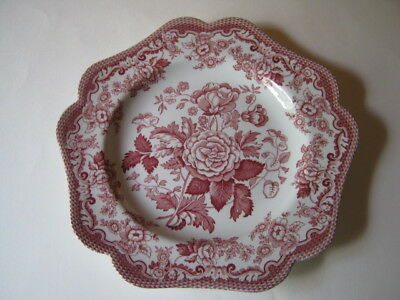 Spode Archive Collection British Flowers Rosa Pentagonal Cranberry Plate