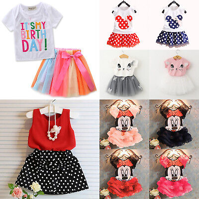 Cute Kids Baby Girl Party Outfit Clothes T-shirt Tops+Tutu Skirt Dress 2pcs Sets