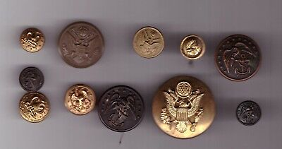 Lot Of 11 Usa Army & Navy Eagle Crest Us Seal America Military Buttons