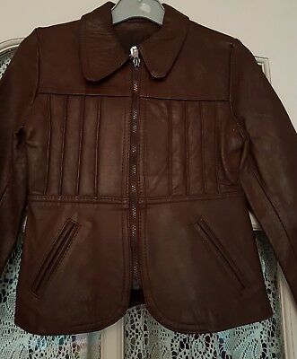 "Vintage, Kids Real Leather Jacket - Brown - 34"" chest"
