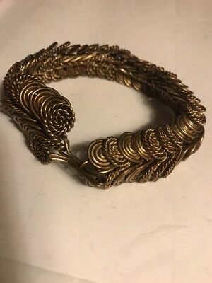 "Vtg Estate Old Antique Looking Amazing Brass 3-D 8.25"" Bracelet-Must See Pics !!"