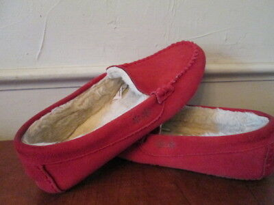 1a8cff4f0168 LANDS  END Women s Red Suede Slip on Moccasins Slipper Size 8 M suede  leather
