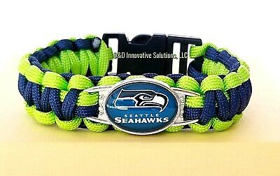 Seattle Seahawks NFL Paracord Football Glass Logo Team Wristband Unisex Bracelet