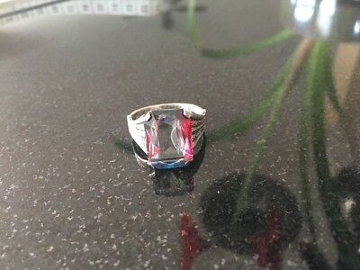 Vintage Art Deco Color Changing Glass Stone Sterling Silver Ring
