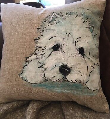 Westie  Terrier Hand Painted Pillow Cover  Insert Not Included Artist Darci