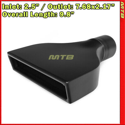Exhaust Muffler Tip 213901 Angle Rectangle Flat Black 9.8 inch Weld-On 2.5 In