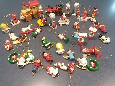 Lot Of 40 Vtg Miniature Hand Painted Wood Christmas Tree Ornaments