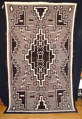 """Large Antique Navajo Two Gray Hills Variant Rug c.1930 88"""" x 51"""" some holes"""