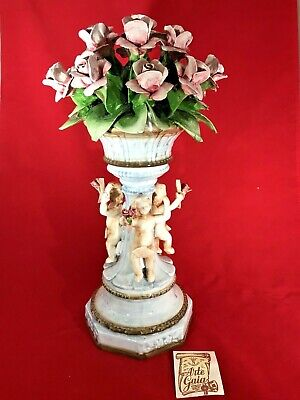 PicClick & RARE FIND VINTAGE Porcelain CAPODIMONTE Flower Vase CHERUB With Pink Roses NEW