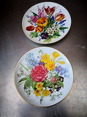 Pair Of 1980S Hutschenreuther Ursula Band Floral Collectors Plates Bradex