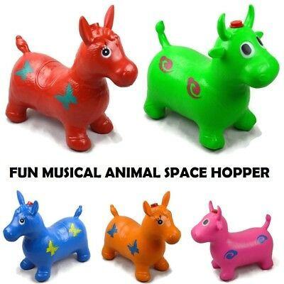 Musical Crazy Animal Space Hopper Inflatable Ride-On Bouncy Play Toy