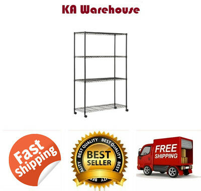 "4 Tier Mobile Wire Shelving Unit With 2"" Nylon Casters 4 Wire Shelves Chrome New"