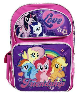 "My Little Pony Girl Friendship Love 16"" Pink  Large Backpack School Book Bag"