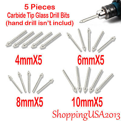 4-10mm Carbide Tip Glass Drill Bit Hole Saw Alloy Cutter Tool Marble Tile 5 PCS