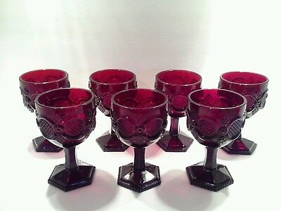 """Large Vintage Avon Ruby Red """"1876 Cape Cod"""" Glass Goblets"""