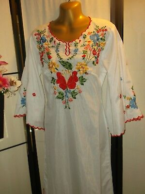 Vintage Mexican wedding dress festival gown fiesta 36/Medium bell sleeves EUC