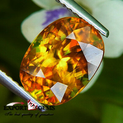 3.61Ct Flash Red Natural Yellow Oval Sphene