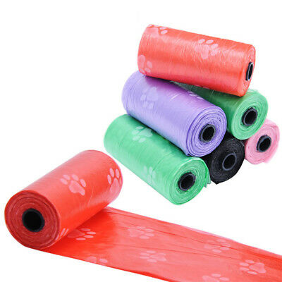 1/5 Roll(1roll=15pcs)Disposable Dog Waste Poop Bag Pet Waste Pick Up Clean Bags