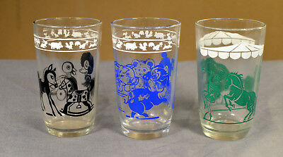 VINTAGE SWANKY SWIG KRAFT JUICE GLASSES GREEN BLUE BLACK Set of 3