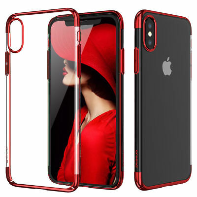 For Apple iPhone X 7 8 Plus Ultra Thin Transparent Clear Shockproof Bumper Case