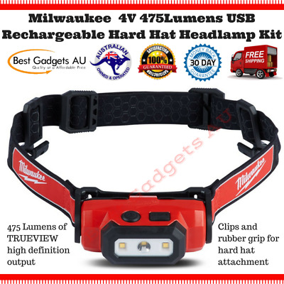 Milwaukee LED Torch Rechargeable Headlamp Safety Hard Hat Cap Light Cordless USB