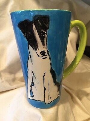 Fox Terrier  Hand Painted Kiln Fired Ceramic Latte Cup By Darci