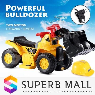 Kids Electric Bulldozer 6V Ride on Digger Car with Toy Stones & Safety Helmet