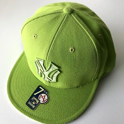 8161fe5f1beff American Needle MLB New York Yankees Neon Green Fitted Cap Hat Flat Bill 7  5
