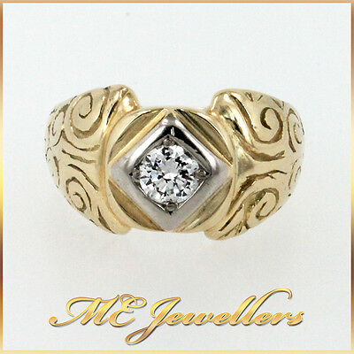 Solid 18K 18ct 18kt 750 Yellow Gold Solitaire 0.50ct Diamond Mens Ring Sz U