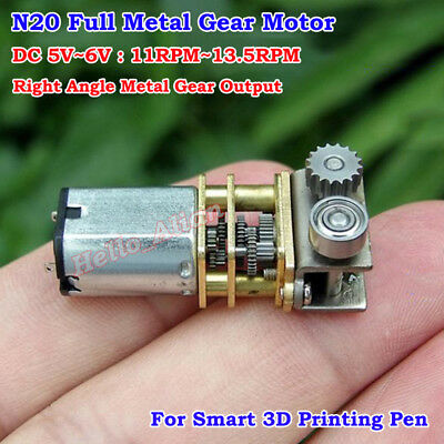 N20 Right Angle Micro Full Metal Gear Box Motor DC 5V 11RPM for 3D Printing Pen