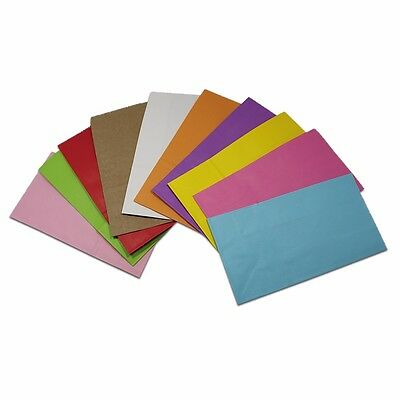 """50x Colorful Kraft Paper Bag Open Top Bread Pack Gift Wedding Pouch 9""""x4.7""""x3"""""""