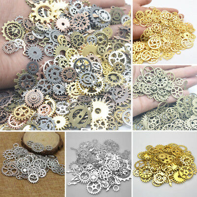 Metal Mixed Cogs Gears Steampunk Bracelet Necklace Charms Clock Watch Part 100g