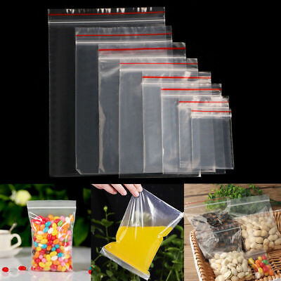 100 pcs Resealable Plastic Bags Red Grip Self Press Seal Zip Lock Packaging Bag