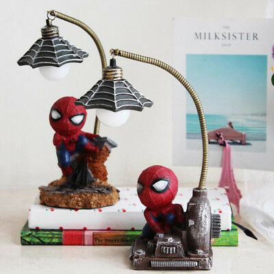 Children Kids Spider man Night Light Desk Table Lamp Birthday Gift Cute Decor