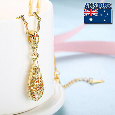 Antique Style 18K Yellow Gold Filled Antique Filigree Pendant Chain Necklace