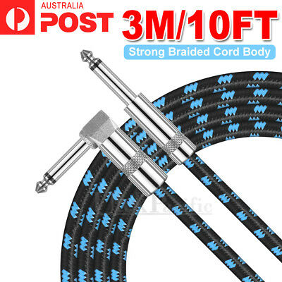 "3M Electric Guitar Lead Cord Cable 6.35mm 1/4"" Jacks For Amp Pedals Instrument"