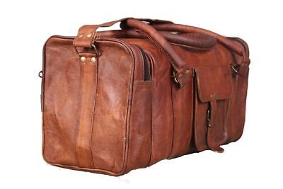 Men s genuine Leather large vintage duffle travel gym weekend overnight bag  20