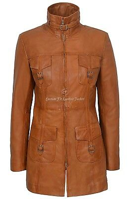 MISTRESS' Ladies Leather Jacket Tan Gothic Style Fitted Mid Length Coat 1310