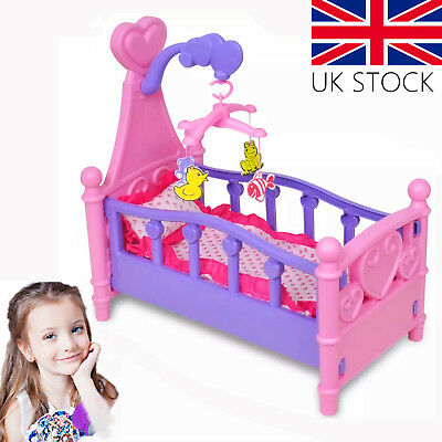 Pink Dolls Rocking Bed Cradle Toy Crib Cot Girls With Mobile Blanket Pillow UK