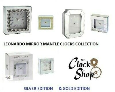 Silver Jewel Mantle Clock Mirror Snake Frame Glitter & Other Table Mantle Clocks