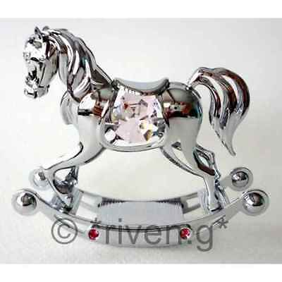 Crystocraft Chrome Plated Baby Girl Rocking Horse Ornament With Pink Crystals