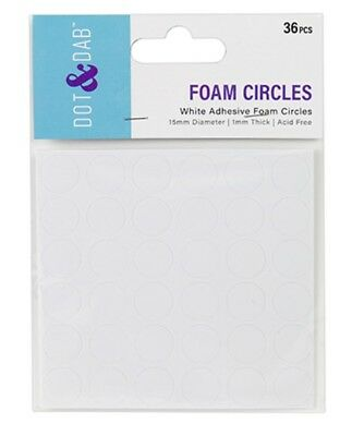 Dot & Dab Double Sided Adhesive 3D Craft Foam Circles Pads 15mm - Pack of 36