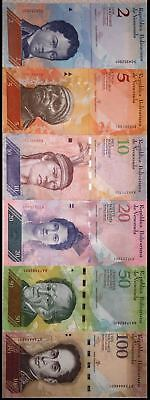 Sets of 6 Venezuelan-banknotes. Two last serial #´s match.UNC. (S1)