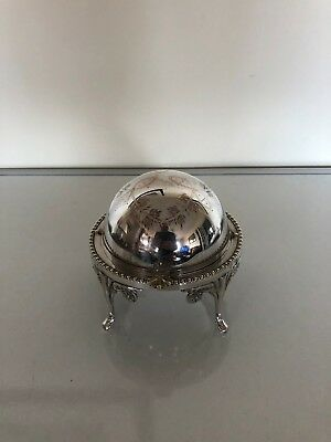 Lovely Silver Plated Domed Caviar Dish On 4 Legs With A Glass Insert