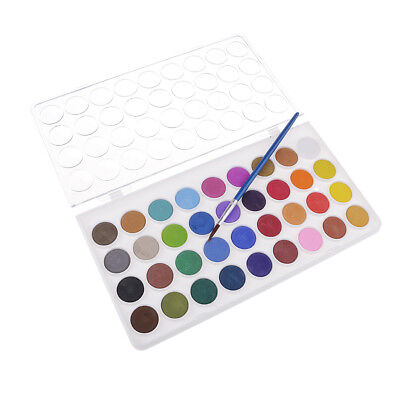 36 Colors Solid Watercolor Paints Pan Set With Painting Brush Art Artist Kit
