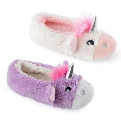 Girls Super Cute Soft Faux Fur 3D Unicorn Ballerina Slippers In 4 UK Sizes