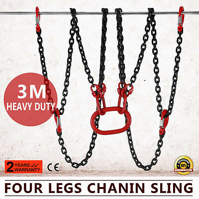 10FT Chain Sling 4 Legs 5T Capacity Low Elongation Rope Hoist With Shortners