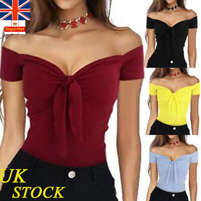UK Womens Off The Shoulder Bow Tie Tops Ladies V Neck Sexy Summer Casual Blouse