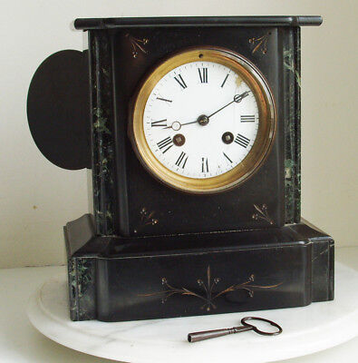 French black slate & marble Japy Freres striking Mantel Clock